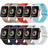 [10 Pack] Bands Compatible with Apple Watch Bands 44mm 42mm iWatch Series 6 5 4 3 2 1 & SE for Women Men, Soft Silicone Replacement Wristbands with Adjustable Buckle (10 Pack B, Large)