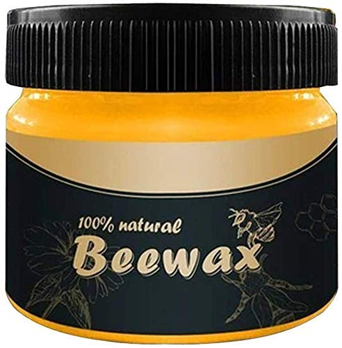 Wood Seasoning Beewax, Multipurpose Natural Wood Wax Traditional Beeswax Polish for Furniture, Floor, Tables, Cabinets (1 Pack)