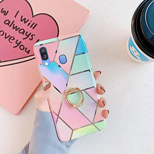 Find Cheap Herbests Compatible with Samsung Galaxy A40 Case Girl Women Geometric Marble Shockproof Soft Silicone Clear Bumper Glossy Glitter Sparkle Cute Case with Diamond Ring Holder Stand,Blue Pink