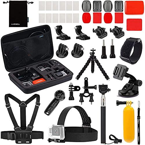 Luxebell Accessories Kit for AKASO EK5000 EK7000 4K WiFi DJI OSMO Action Camera Hero 9 8 7 6 5 Black Sliver Max Session Fusion SJ4000 SJ5000