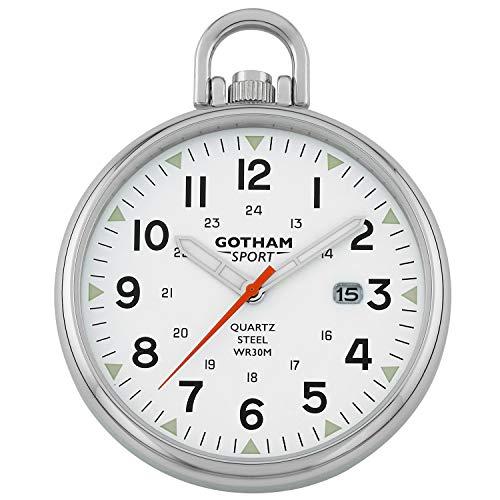 Gotham Men's Sport Series Stainless Steel Analog Quartz Date Pocket Watch # GWC14109S
