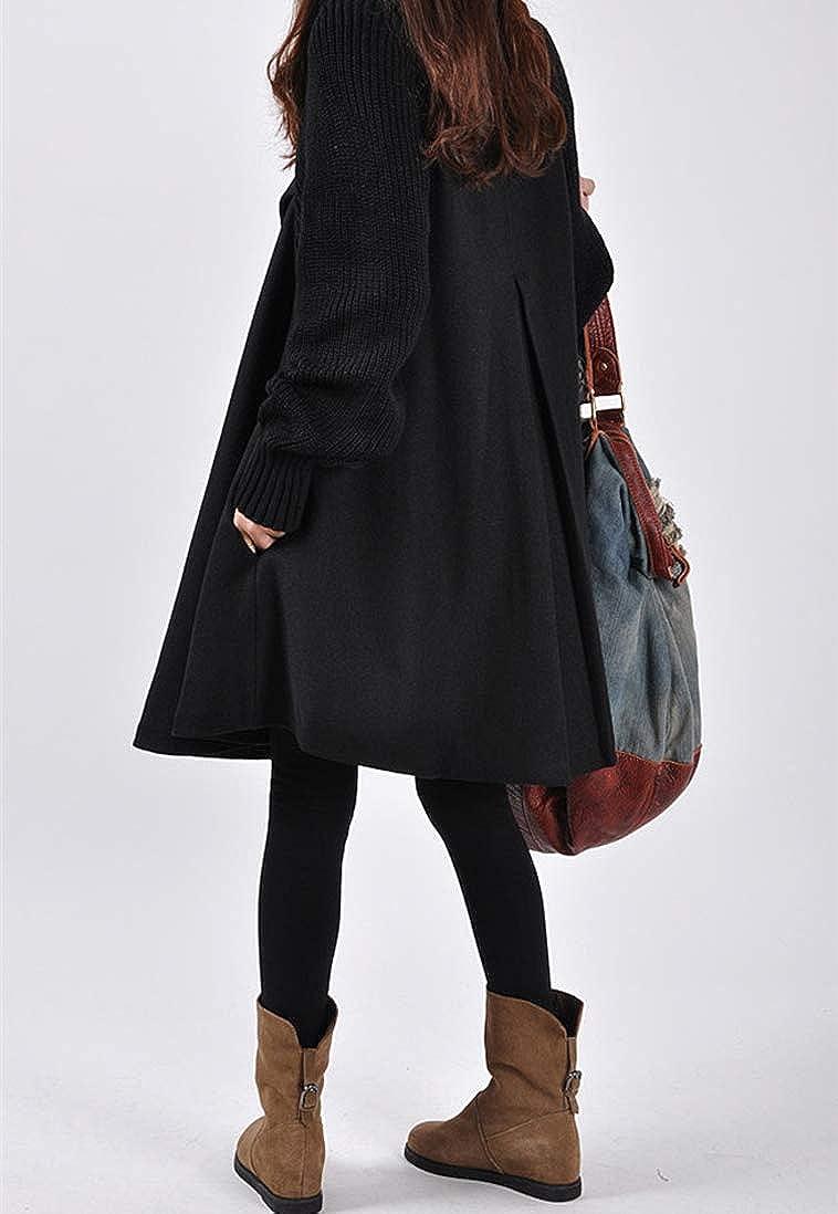 Minetom Damen Wintermantel Warm Mantel Taschen Langarm Elegant Mantel Mit Kapuze Damen Ausgestellter Mantel Kleider Winterjacke Outwear Trenchcoat C Schwarz