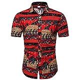 Camisas de Manga Corta para Hombres, Camisa Mangas Cortas Impresas Botón Impreso Abajo Vestido de Playa Vestido, Citas al Aire Libre,Rojo,XL