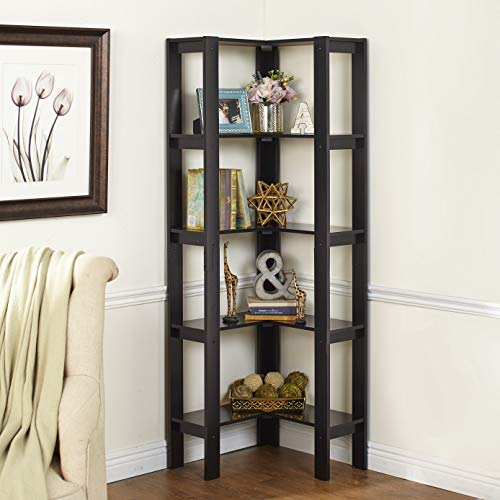 The Lakeside Collection L-Shaped Corner Unit with 4 Shelves - Home Office Organization - Black