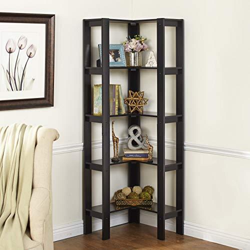 SRIWATANA 3-Shelf Shelving Storage Unit, Metal Storage Shelves Rack, Vintage Bookshelf for Living Room, Bedroom, Kitchen, Dark Walnut
