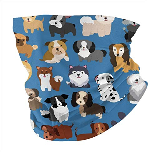 Cute Animal Dog Man Women's Seamless Scarf Balaclava Mask-Neck Gaiter Mouth-Muffle Cover Mask Sunscreen UV Protection for Cycling Reusable