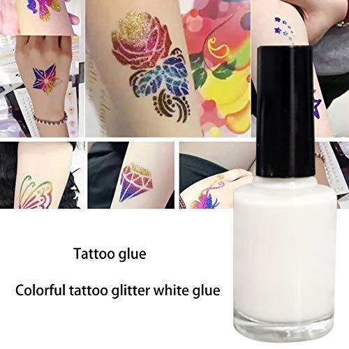 Kit de tatuaje de purpurina - Pegamento de tatuaje de purpurina agradable para la piel para tatuajes temporales-Tatuajes impermeables Niños Adolescente Adulto Fiesta Accesorio y arte corporal - 15 ml