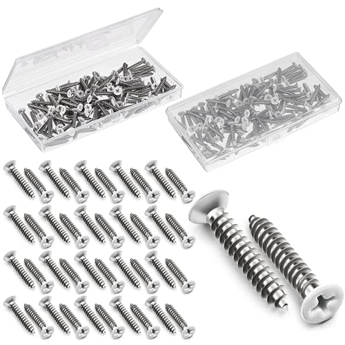 100 Pieces #8 White Screws Wall Plate Screws Painted Antique White Coated Stainless Flat Head Self-Tapping Screw for Wall Plates Switch Covers Replacement Outlet Light Switch Plate (32 x 1 Inch)