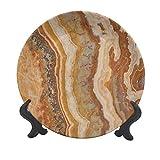 Plato decorativo de cerámica de mármol de 15,24 cm, diseño de mármol de ónix travertino formado mineral, tinta texturizada, ilustración decorativa de cerámica para mesa de Navidad