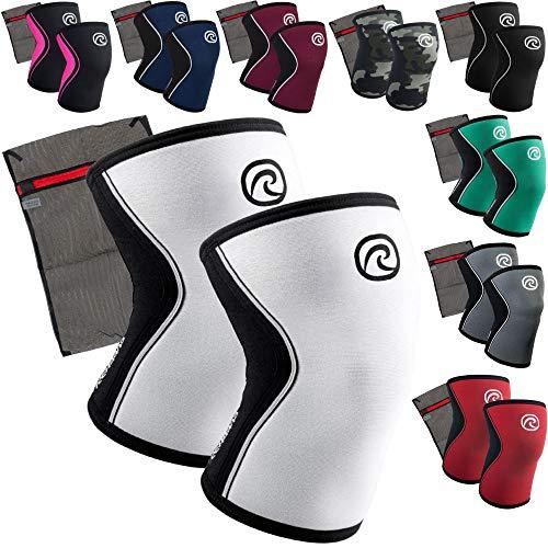 Rehband [1 Paar] 5 mm Neopren Kniebandage - Kniestütze + Ziatec Wäschenetz - CrossFit-Kniebandage - Kniegelenk-Bandage - Kniebandage-Krafttraining, Farbe:weiss, Größe:XL - 1 Paar