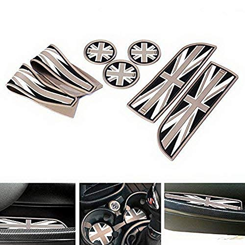 iJDMTOY Union Jack Style Silicone Interior Cabin Mats Compatible With MINI Cooper R55 R56 R57 R58 R59, 7-Piece Black/Grey Cupholder Coasters, Side Door Compartment Liners