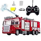 Juguete de camión de bomberos de pulverización de agua Coche de control remoto eléctrico recargable de 2.4GHz con luz y sonido Modelo de camión de bomberos RC de alta simulación creativa para niños