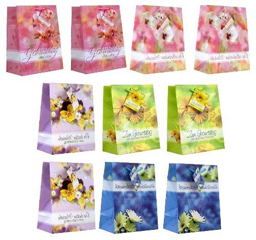 Taunus 99-9016 - 10 Geschenktüten mit Blumen und Geburtstagstexten, 23 x 18 x 10 cm
