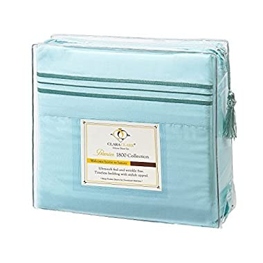 Clara Clark Premier 1800 Series 4pc Bed Sheet Set - Queen, Aqua Light Blue, Hypoallergenic, Deep Pocket