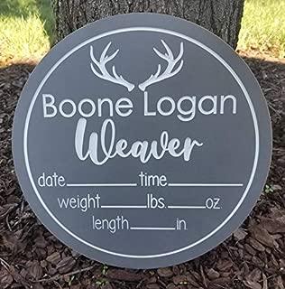 """12"""" Baby Boy Deer Antler Birth Stats Sign/Boy Nursery Door Hanger/Deer Hospital Door Hanger/Birth Sign/Antler Hospital Baby Sign Boy"""