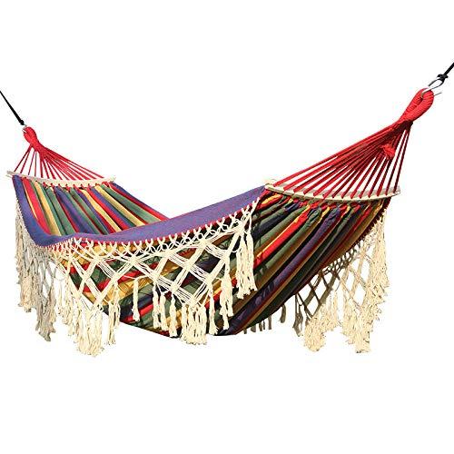 TW Travel Camping Hammock,Outdoor Cotton Hammock, Breathable, Outdoor Indoor Garden,Multi-colored