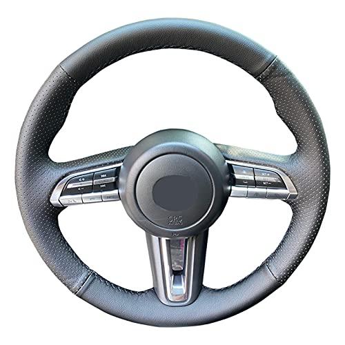 Cubierta para Volante de Coche Cosida a Mano, Apta para Mazda CX-30 CX30 2020 Mazda 3 Axela 20205, Antideslizante, Transpirable