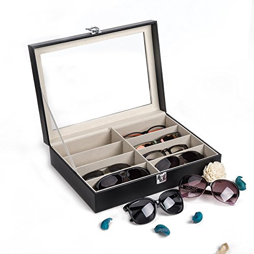 sunglasses set with cases CO-Z Leather Multi Sunglasses Organizer for Women Men, Eyeglasses Eyewear Display Case, Jewelry Watch Organizer, Sunglasses Jewelry Collection Case, Sunglass Glasses Storage Holder Box with 8 Slots