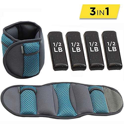 Empower Ankle & Wrist Weights for Women, Soft, Adjustable Weights, Adjustable Strap, Running, Walking, Exercise, Resistance Training, Toning, (1 Pair) 5lb, Teal