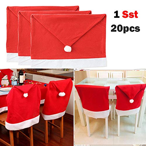 "Wowpower 20pcs Santa Claus Hat Chair Slip Covers, Christmas Chair Back Cover for Dining Room Home Holiday Party, Family Composition, The Best Christmas Decor - 23.6""x 17.7"""