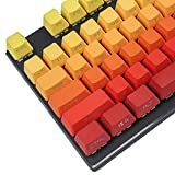 Purple Yellow Green Gradient PBT Double Shot 104 Side-lit Shine Through Translucent Backlit keycaps for MX Mechanical Keyboard (OEM Yellow-Red)