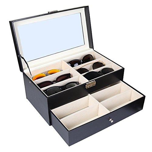 Goetland - Organizador de gafas de sol (piel sintética, caja de almacenamiento)