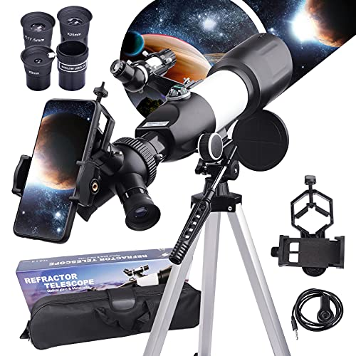 BEBANG Telescopio para adultos niños principiantes- 3 oculares giratorios apertura 70mm telescopio 400mm refractor astronómico con trípode ajustable, telescopio para niños Aurora Luna planetas