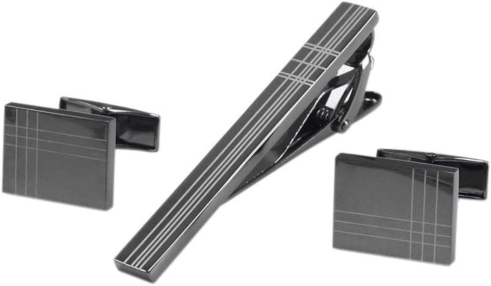 ZCX Rectangular Gun Black Laser Stripe Men's French Shirt Tie Clip Cufflinks Set Tie Clips