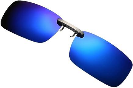 c7429578076 JJLIKER Clip-on Sunglasses Unisex Polarized Frameless Rectangle Lens Flip  Up Metal Rimless Glasses UV