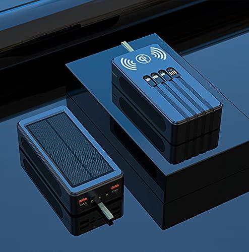 Banco de energía portátil 30.000 mAh 22.5W cargador solar bidireccional de carga rápida con cable Cargador rápido inalámbrico de 15W (negro)