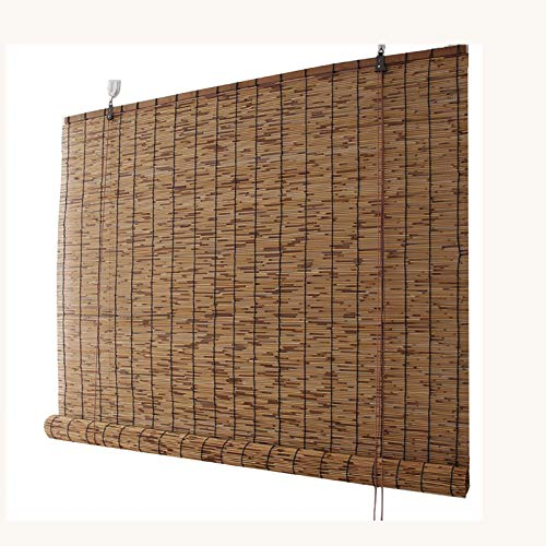 Carbonization Natural Reed Curtain Bamboo Roller Blinds, Light Filtering Roll Up Blinds, Sun Shade Curtain, for Door Patio, Hand-woven, Ventilated breathable, Shading, Privacy,100x250cm/40x99in