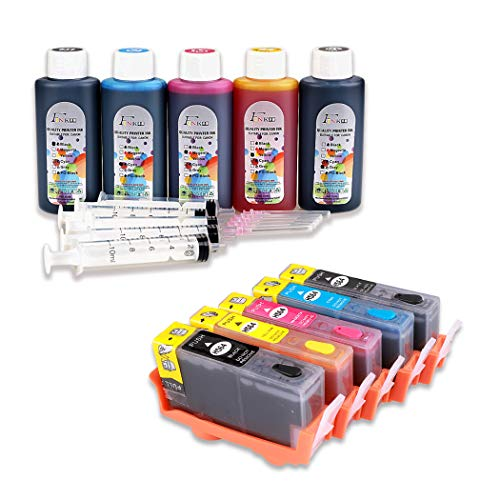 FINK 364XL Cartuchos de Tinta Rellenables y 5x100ml de Tinta