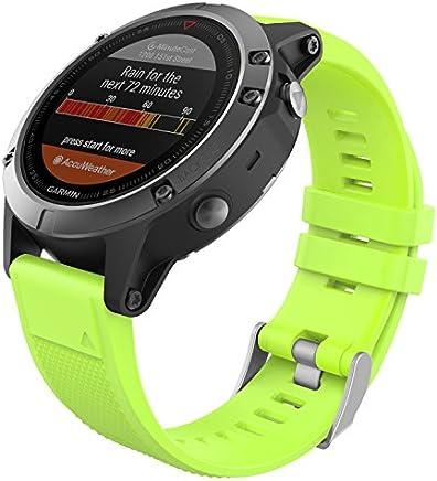 MoKo Garmin Fenix 5 Cinturino, Braccialetto Morbido di Ricambio in Silicone per Garmin Fenix 5/5 Plus/Instinct/Forerunner 935/Approach S60 Smart Watch (Non per Fenix 5X o 5S), Verde