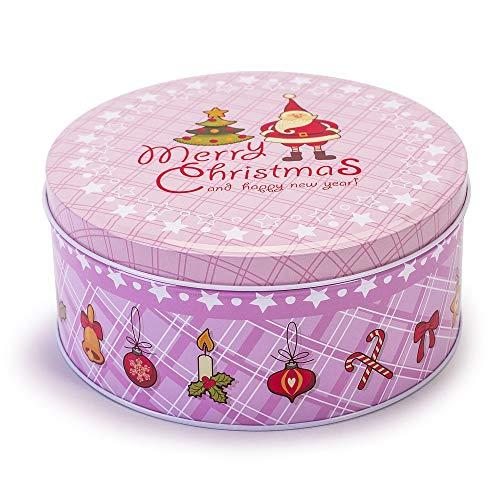 Tarro para galletas, diseño navideño, color rosa, 1,6 L