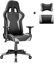 Gaming Chair-Inspired by Racing Car,Ergonomic Reclining Home Office Chair,High Back Computer Chair,Video Game Chair,Gray