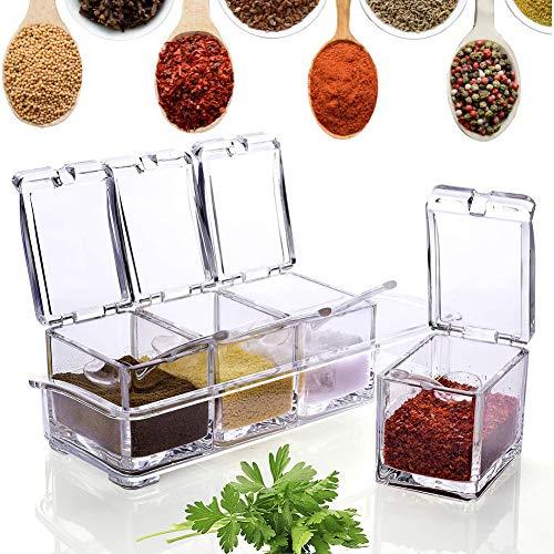 SZWL Juego De 4 Piezas Caja De Condimentos Acrílicos,Transparente Caja Para Condimentos Storage Contenedor Condimentos Sal Azúcar Contenedor Botes Para Especias Con Tapa y Cucharas