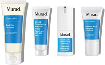 Murad Invisiscar Kit with Clarifying Cleanser, Invisicar Resurfacing Treatment, Oil and Pore Control Mattifier SPF45 and Outsmart Acne Clarifying Treatment