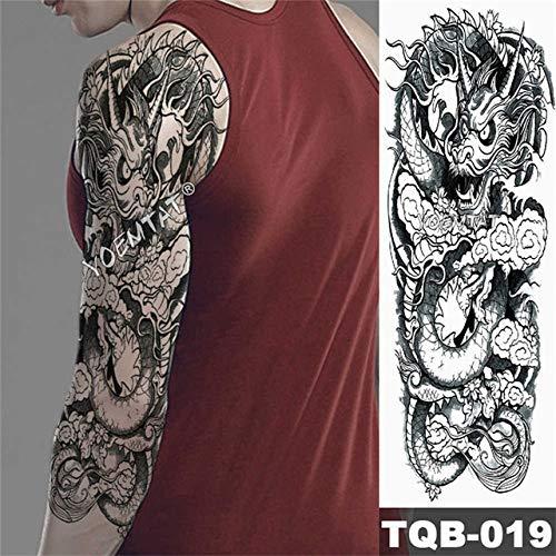 Tatuaje de pierna de brazo completo de transferencia de agua Hombres y mujeres Tatuaje de tigre Rosa Arte corporal