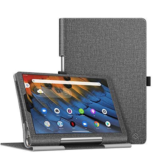 Fintie Hülle für Lenovo Yoga Smart Tab - Slim Fit Folio Kunstleder Schutzhülle Tasche mit Standfunktion Stylus Loop für Lenovo Yoga Smart Tablet YT-X705F (10,1 Zoll) 2019, Jeansoptik dunkelgrau