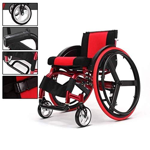 Sillas de ruedas deportivas y de ocio, sillas de ruedas deportivas y de ocio plegables de aluminio, sillas de ruedas con amortiguadores, sillas de ruedas deportivas ultraligeras para competición, rojo