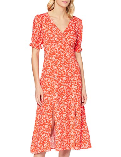 MISS SELFRIDGE Damska czerwona kwiatowa sukienka midi na co dzień, Czerwony, 32 PL