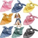 SATINIOR 8 Pieces Dog Bandanas Plaid Polka Dots Dog Triangle Scarf Soft Washable Dog Kerchief Adjustable Pet Bib Accessories for Small Medium Large Dogs Puppies Cats Pets