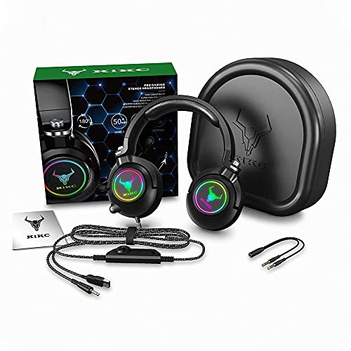Kikc ET600 Gaming Headset for Xbox One Headset, PS4 Headset for PS5, PSP, PC, Video Game, Laptop, Mac. (Rotating Ear Shell, Storage Swivel Microphone) Black (Renewed)