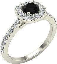 black cushion cut diamond ring