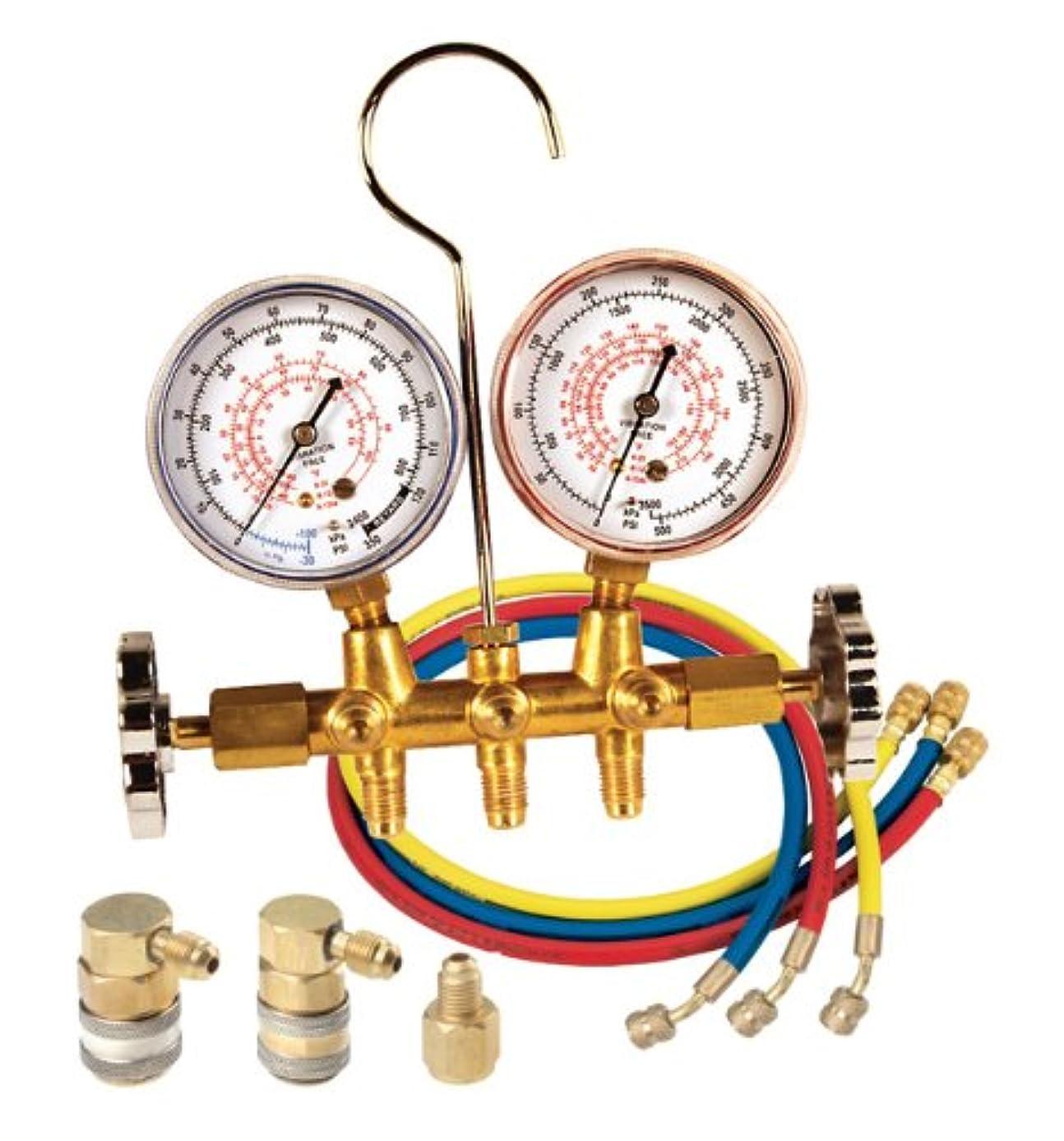 FJC 6692 R12/R134A Brass Dual Manifold Gauge Set