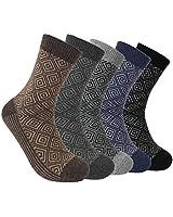 5 Pairs Men's Wool Blend Thick Winter Warm Thermal Calf Socks,Soft Comfortable,Moisture Wicking,UK 6-11 EUR39-42,Black,Blue,Grey,Brown
