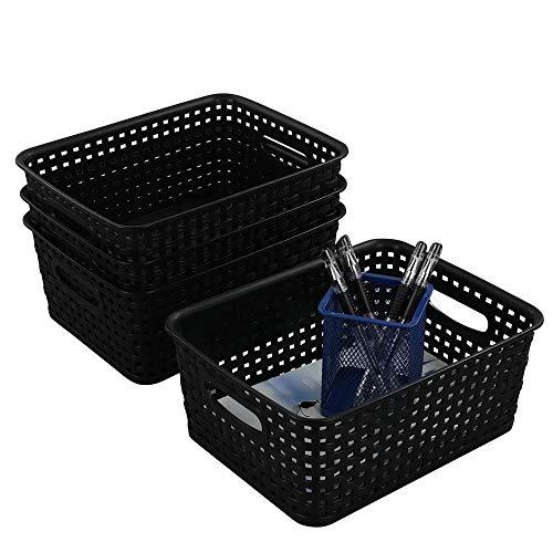 Ikando Aufbewahrungskörbe Korb Kunststoff Plastik, Geflochten, Schwarz, 4 Stück