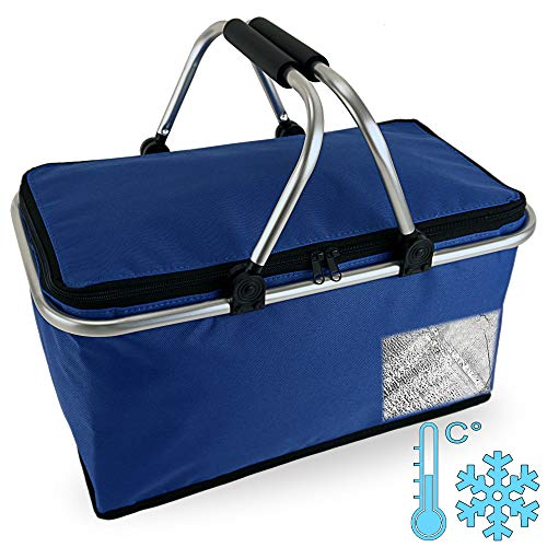 Cepewa Einkaufskorb faltbar mit Thermofunktion 30 L Kühltasche Thermokorb Picknickkorb Isoliertasche (blau mit Thermofunktion)