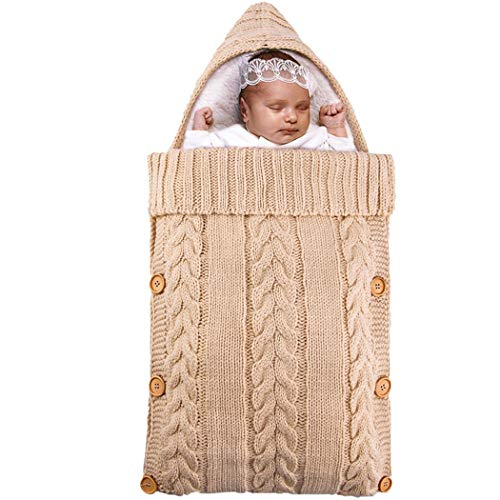 ZOYLINK Manta de Swaddle de punto Suave felpa cálida para niños Abrigo para dormir Niños Multicolor Bunting Bag Infant Swaddle para la cama del hogar