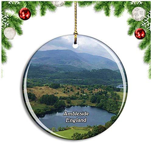 Weekino Ambleside Loughrigg Fell UK England Christbaumkugel Hängender Weihnachtsbaum Anhänger Dekor Travel Souvenir Collection Porzellan 2,85 Zoll
